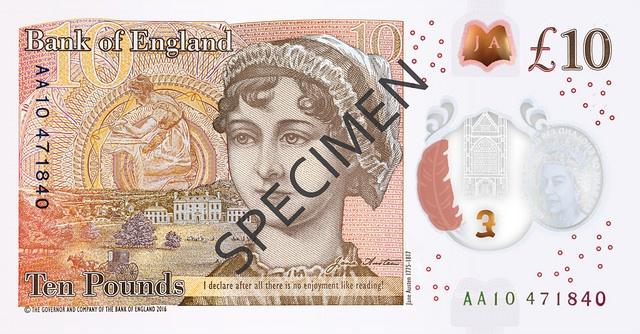 Bank of England £10 Jane Austen back image