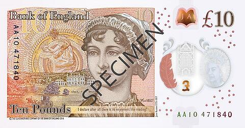Bank of England £10 Jane Austen back image