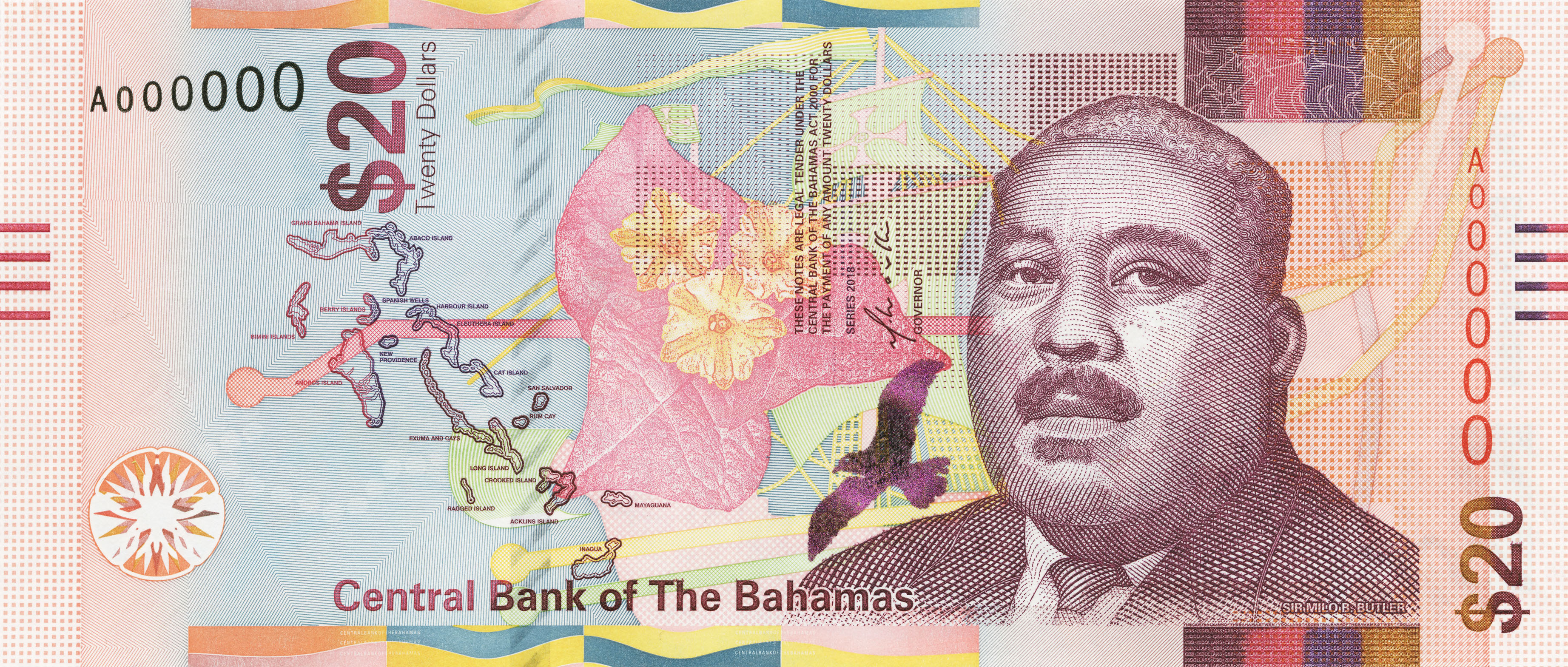 The Central Bank Of Bahamas Launches 20 As Part Their New Banknote Family With De La Rue S Active Security Thread