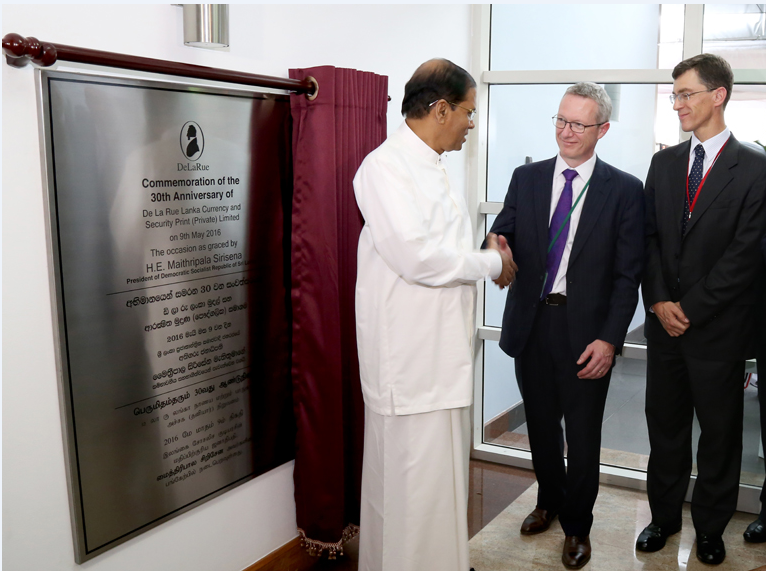 His Excellency Mithripala Sirisena, Martin Sutherland and BHC James Dauris (left to right)